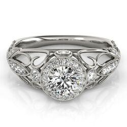 Real 1.00 Ct Round Diamond Women Engagement Ring Solid 950 Platinum Size 6 7 8 9