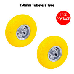 2pc 250mm Non Flat Tubeless Rubber Tyre Wheel Assembly 9.8inch Tyre