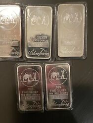 5, 10 Troy Ounce Silver Towne Bars .999 Sealed In Pack, Serial Numbers On Bars