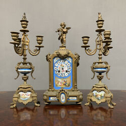 Antique Triptych Napoleon Iii With Porcelain Serves Period Xix Century France
