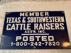 Texas And Southwestern Cattle Raisers Assn 20 X 12 Porcelain Member Fence Sign