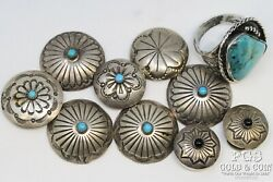 Signed Yellowhorse Navajo Sterl Silver Turquoise Button Covers, Ring 65.4gr21192