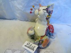 #x27;Lilith#x27; Multicolor Original handmade WhimsiClay cat Made in USA plus free pin