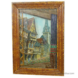 Antique Black Forest Diorama With Handpainted Medieval City Ca. 1900
