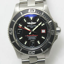 Breitling Super Ocean A17391 Black Dial Ss Automatic Menand039s Watch Ex++