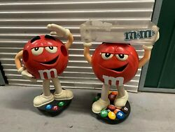 Lot Of 2 Mandm Red Candy Character Store Display Tall Great Condition