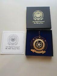 1997 Texas Capitol State Seal Of Tx Ornament - In Box W/cert. Mint See Photos