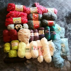Huge Lot 28+ Skeins Yarn Red Heart Lion Brand Acrylic Wool Blend Cotton Baby
