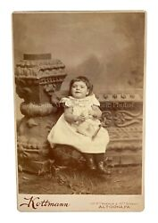 Antique 1890s Victorian Girl Lamb Pull Toy Cabinet Photo