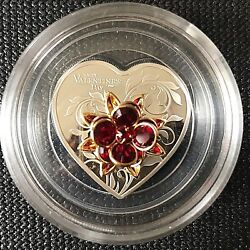 Cook Islands 2019 Happy Valentineand039s Day Heart Shape Silver Coin.