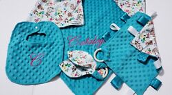 4 Pc Spring Minky Dot Baby Gift Setpersonalized /monogrammed Reversible