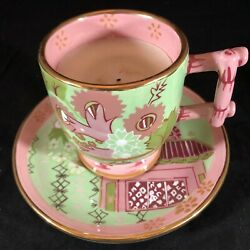 Tracy Porter Porcelain Pink Green Japanese Pagoda Cup Saucer Candle Hand Painted