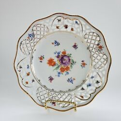 Schumann Bavaria Germany China Dresden Flowers Reticulated Salad Plate Gold Rim