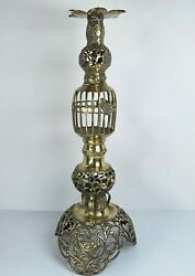 Vintage Brass Floor Candle Holder Filigree 21.5quot; Tall Made in Japan