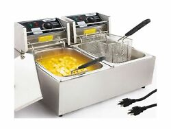 Commercial Deep Fryer Countertop For Home With 2 X 6.34 Qt Removable Tanks An...