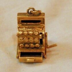 14k Yellow Gold Old Fashioned Cash Register Charm W/ Opening Drawer - 7.9 Grams