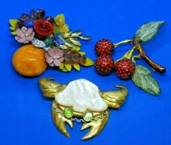 Collection Of 3 Fabrice Paris 3d Pins Or Brooches - Crab, Cherries And Flowers