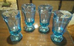 4 Blue Crystal Antique Water Glasses - Goblets, Virginia By Fostoria