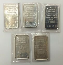Lot Of 5 One Ounce Credit Suisse 1oz Fine Silver Bars Consecutive Serial