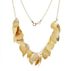 Italian 14k Yellow Gold Round And Leaves Charm Necklace 18 12.7 Grams