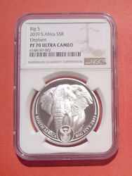 South Africa 2019 The Big Five-african Elephant 5 Rand Pp Silver Coin Ngc Pf70uc
