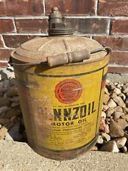 Vintage Early Pennzoil Motor Oil 5 Gallon Metal Can W/ Wood Handle