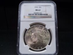 1925 Ms67 Peace Dollar Ngc Certified Superb Gem - Frosty White/light Gold/pq