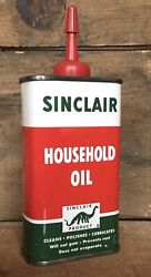 Vintage 4 Oz Sinclair Household Oil Oiler Tin Can Gas And Oil Dino Advertising