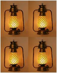 Somil Antique Wall Mount Lantern Lamp With Glass Hand Decoratedvc23-wmt