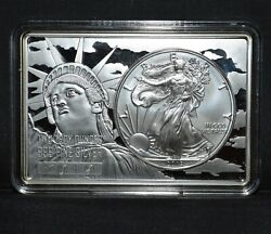 2019 3 Oz Silver Bar ✪ Silver Eagle Coin Bar ✪ Statue Of Liberty Flag ◢trusted◣
