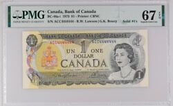 Canada Serial 4444444 Solid 4and039s   Pmg 67 Bc-46-a-i 1973 1