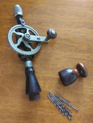 Vintage Millers Falls Hand Drill Egg Beater Type With Tool Box Extras