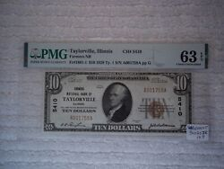 1929 10 Taylorville Illinois Il National Currency T1 5410 Pmg 63 Epq