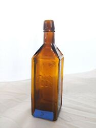 Variant Color Antique 1872 Doyles Hop Bitters Deep Yellow Amber Colored Bottle