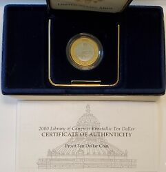 2000 Library Of Congress 10 Bimetallic Gold And Platinum Proof Coin W/coa Ogp
