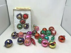 Vintage Christmas Ornament Lot 29 Glass Usa Art Hand Painted Balls Bright Colors