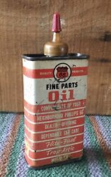 Vintage 4oz Phillips 66 Fine Parts Motor Oil Oiler Tin Can Gas And Oil Advertising