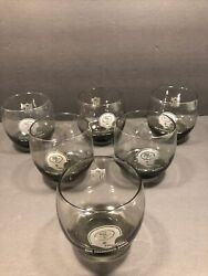 Set Of 6 Sf 49ers Vintage Lowball Smoked Glass Drinking Glasses 1970s