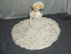 Ardalt Fiori Bianco Woman In Dress Figurine White Applied Flowers Italy Signed