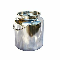 15 Qt Milk Can Tote, Stainless Steel With Lid And Handle 4 Gallon 15.85 Qt