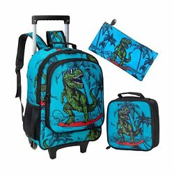 Rolling Backpack for Boys Wheeled Dinosaur Bookbag with Lunch Box Pencil Box... $70.70