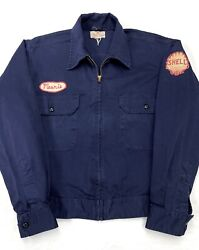 Vtg 1950s 60s Gas Station Work Jacket S Mint Patches Chain Stitching Shell