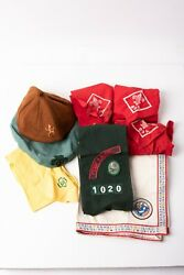 Vintage Girl Scout Uniform Lot Brownie Beanie Green Beret Sash W/ Patches And Pins