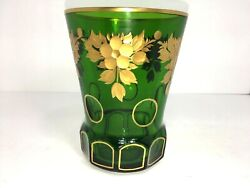 House Of Goebel W Germany Vase Green Art Deco Glass Gold Floral Relief Rare