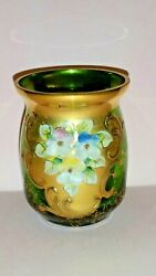 Bohemian Moser Hand-painted Emerald Green Toothpick Holder