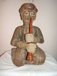Antique Rajistani Seated Flute Musican Statue, Hand Carved Wood, C India 1900