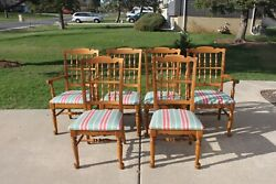 Ethan Allen Modern Nutmeg Maple Turned Spindle Back Dining Chairs- Set Of 6
