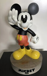 Vintage Large Walt Disney Mickey Mouse Statue Heavy 20andrdquo Tall Figure W/ 1928 Base