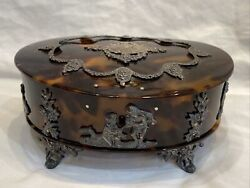 Antique Faux Tortoise Shell W/ Silver Accents Footed Jewel Box By George Fox