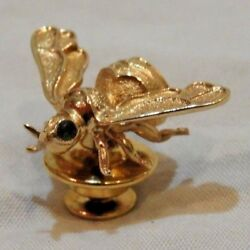 Vintage 14k Yellow Gold And Green Emerald Eyes Fly Insect Pin Tie Tack